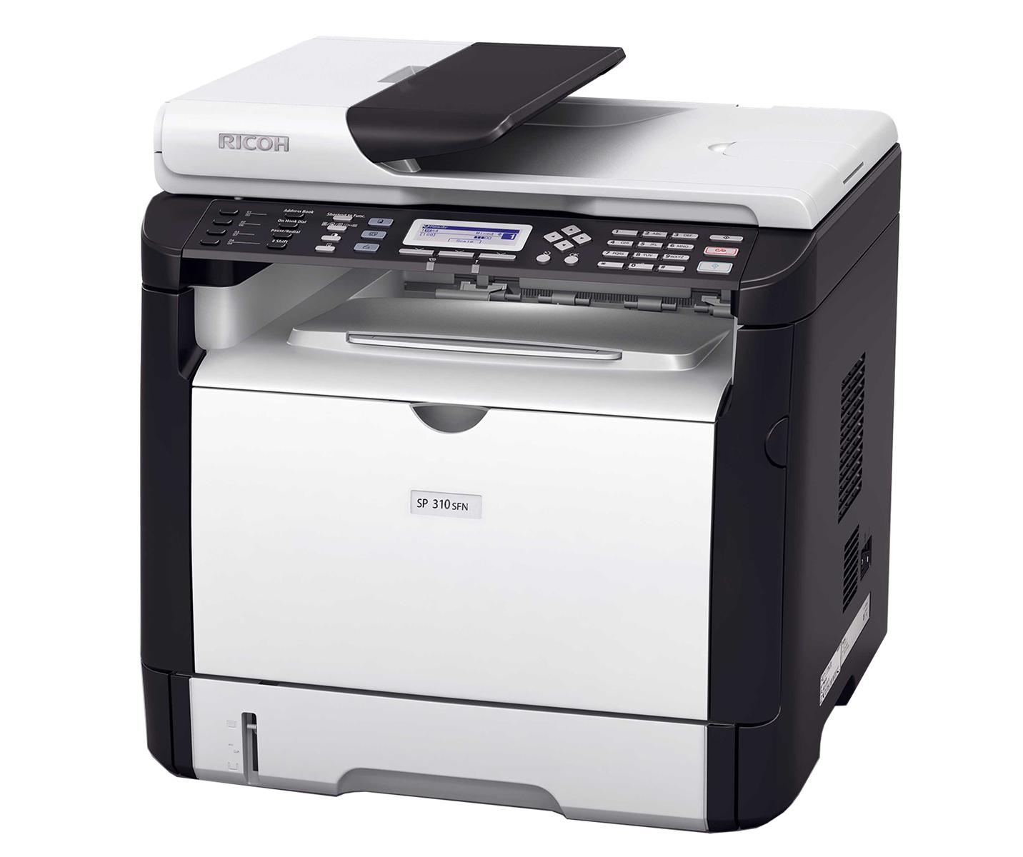 Máy in Ricoh SP-310SFN, In, Scan, Copy, Fax, Network, Laser trắng đen